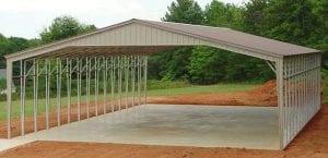 metal carport under construction